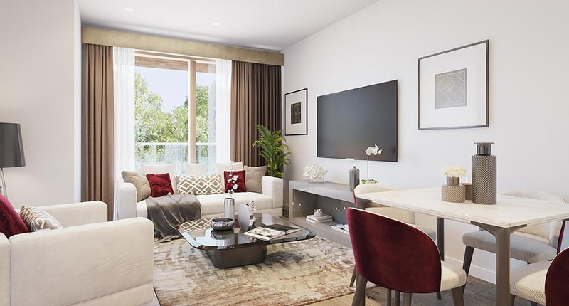 Photo of the living room in Shared Ownership homes at Barking Riverside