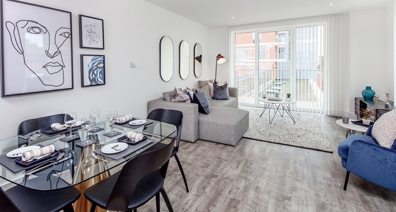 Photo of the living room in Shared Ownership homes at Churchfield Quarter