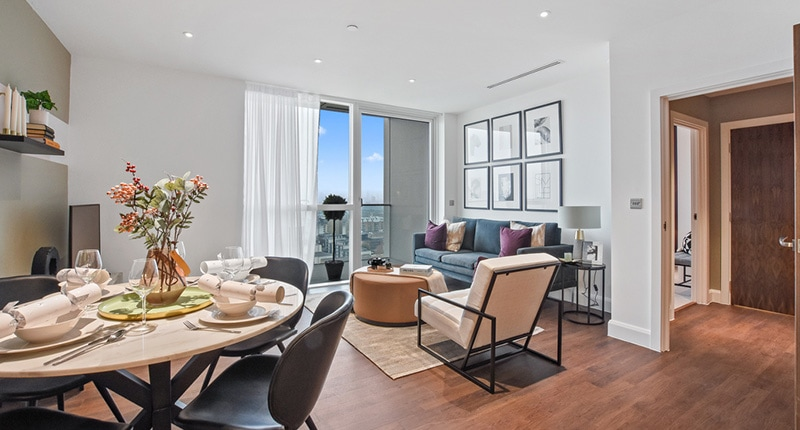 Photo of the living room in Shared Ownership homes at Dockside