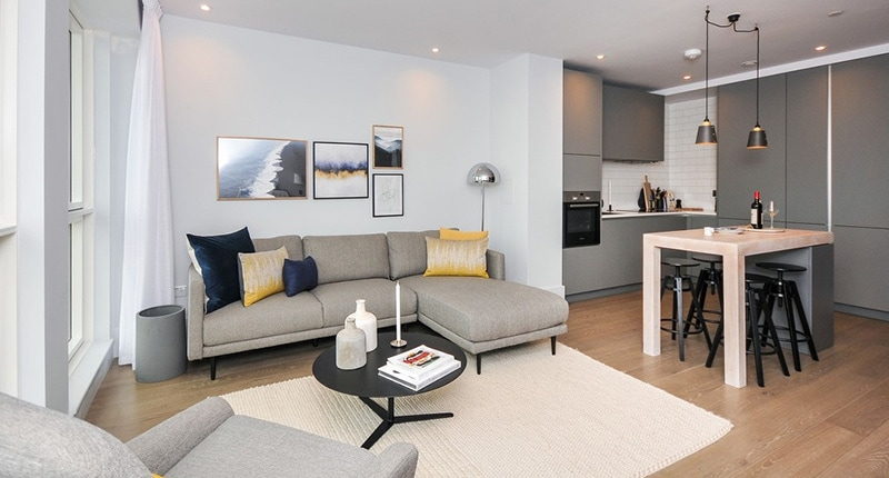 Photo of the living room in Shared Ownership homes at Leon House