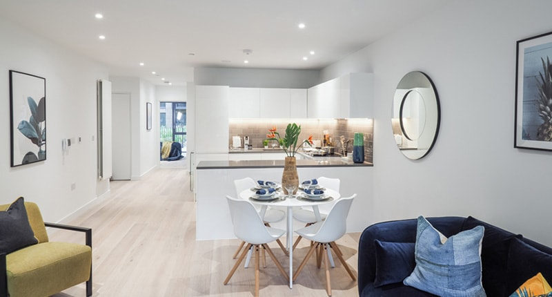 Photo of the kitchen in Shared Ownership homes at Traders Quarter