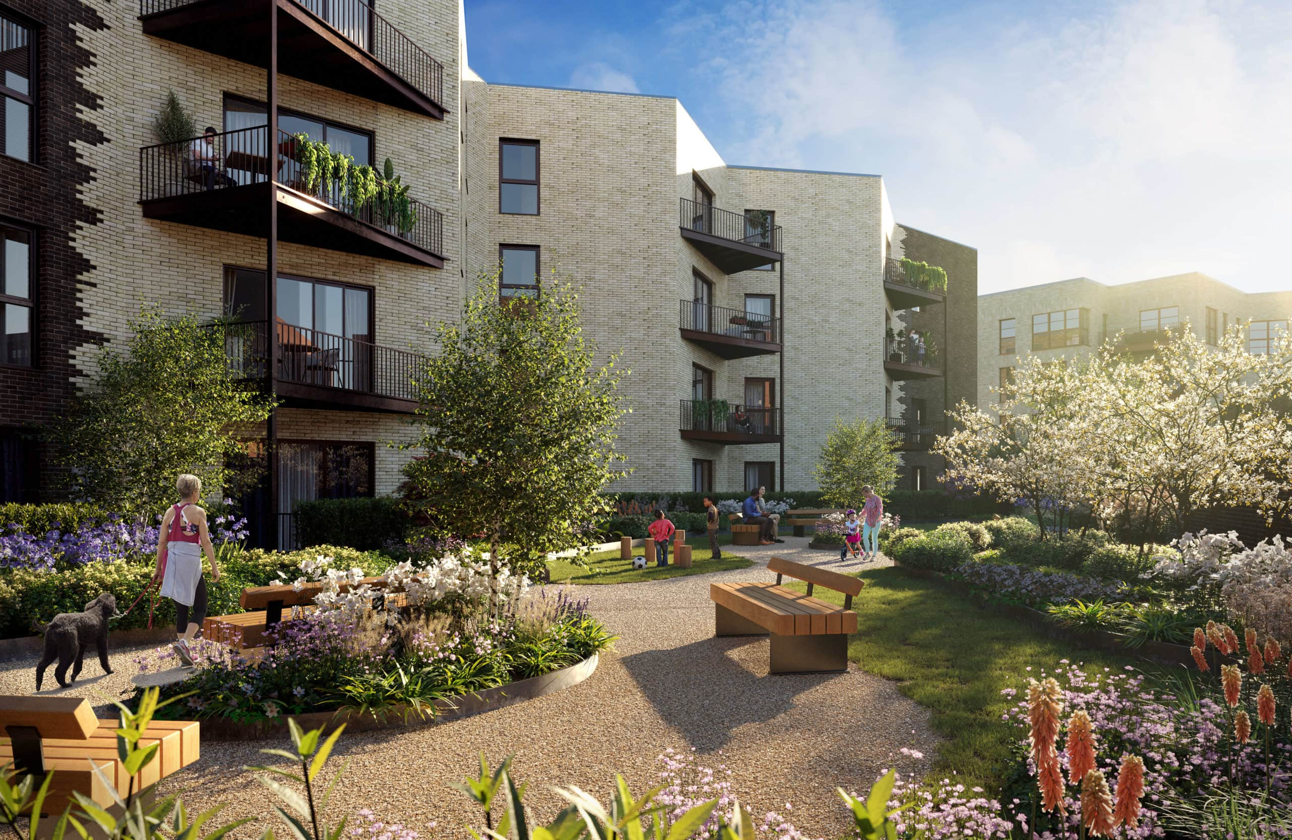External CGI of apartments at East Wick and Sweetwater - Shared Ownership and Affordable Rent homes available on Share to Buy