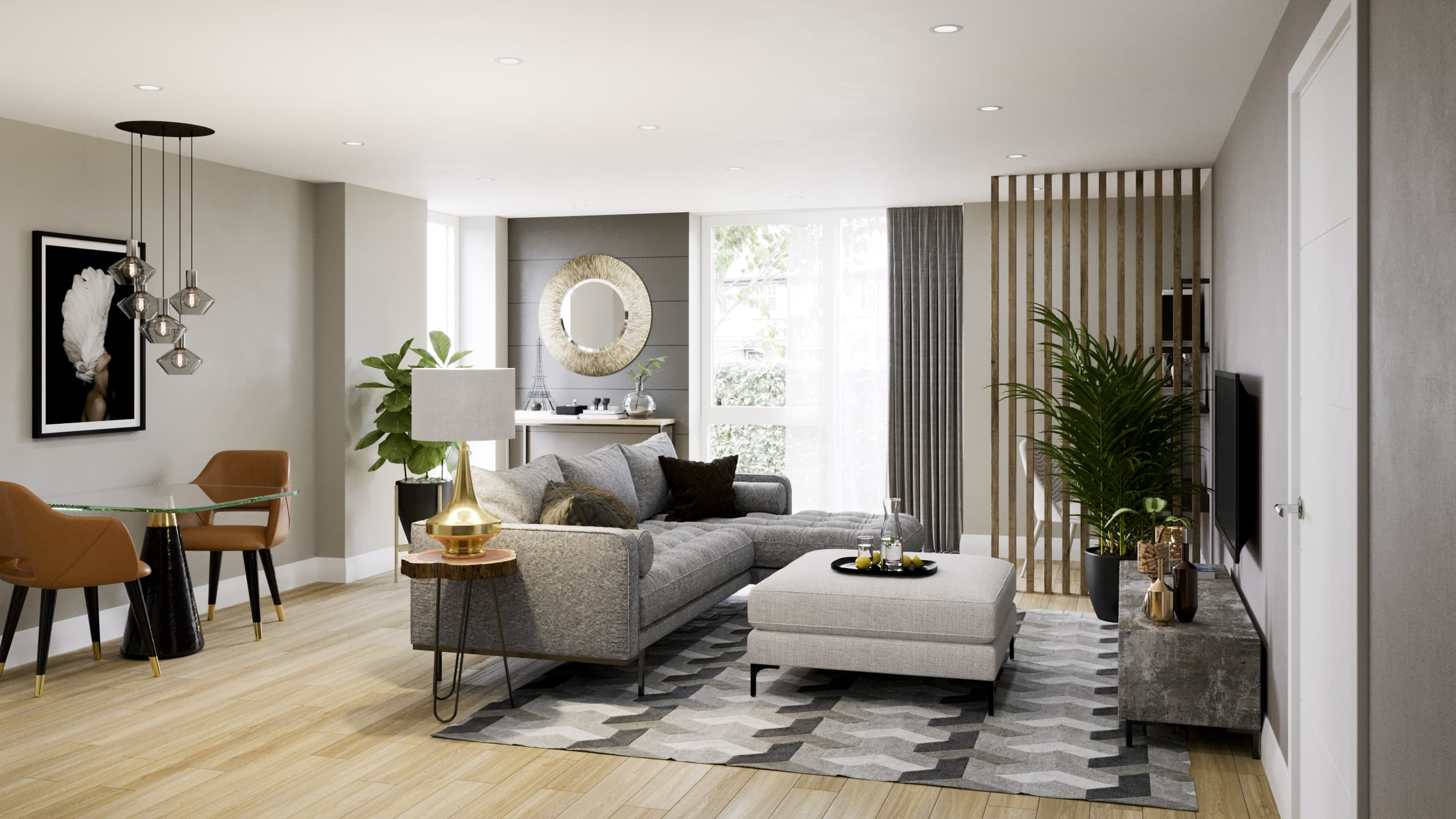 Show home photography of a living room at Catalyst's The Folium - Shared Ownership homes available on Share to Buy