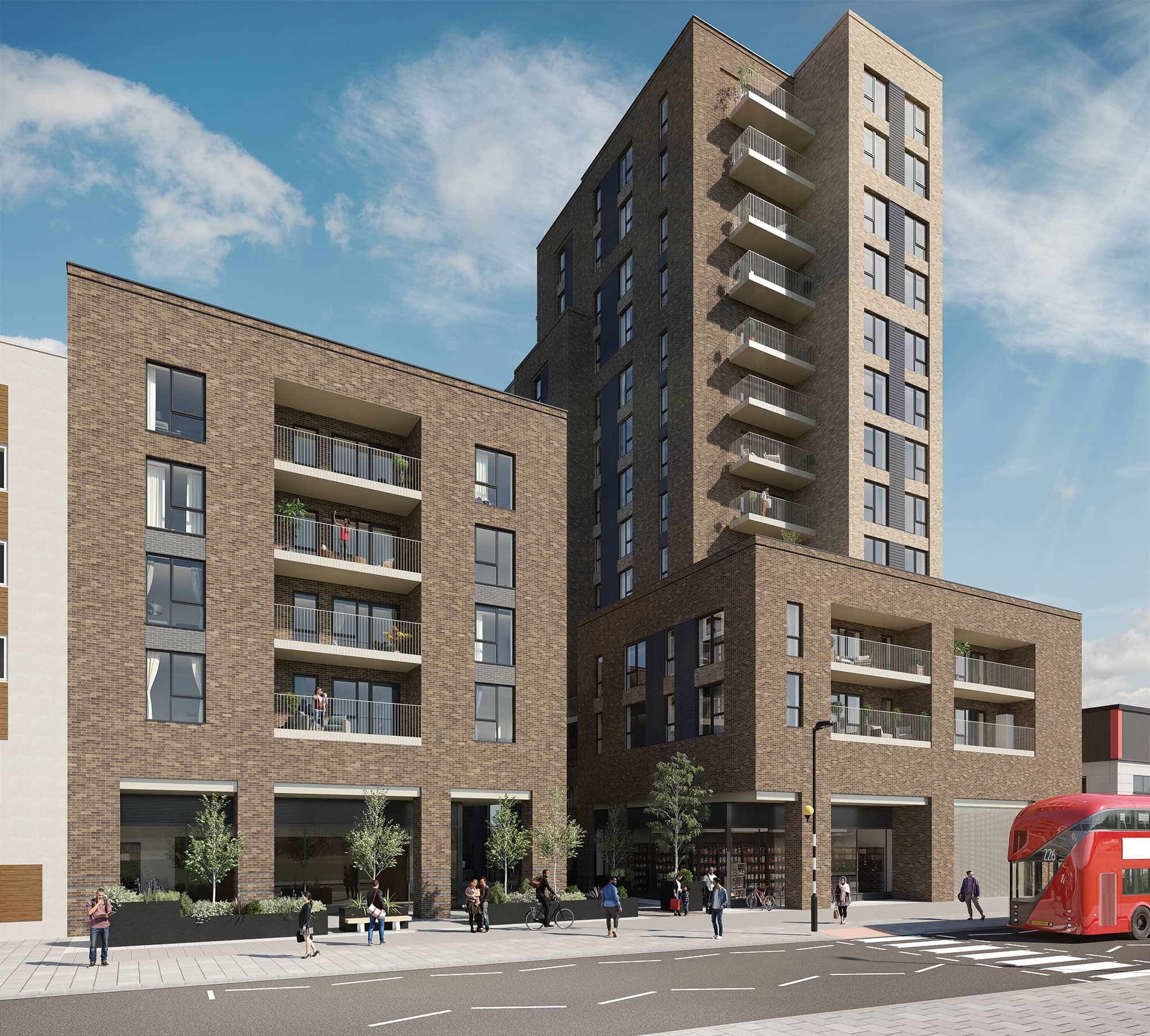 External CGI of Network Homes' Acton Works - Shared Ownership homes available on Share to Buy