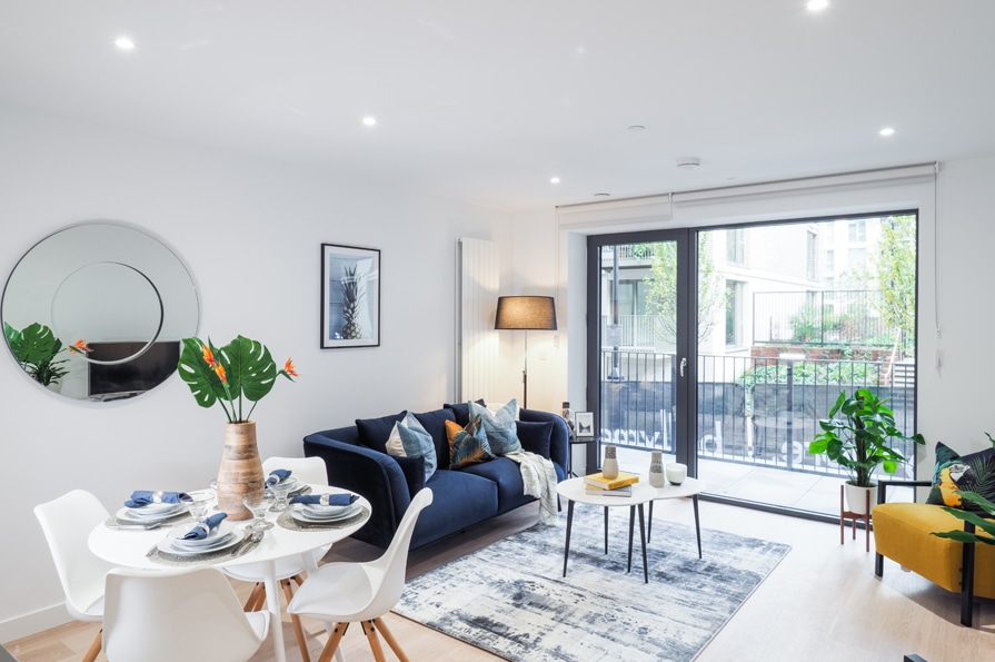 Show home photography of a living room at Site Sales' Traders Quarter - Shared Ownership homes available on Share to Buy