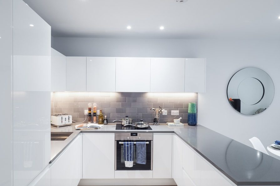 Show home photography of a kitchen at Site Sales' Traders Quarter - Shared Ownership homes available on Share to Buy