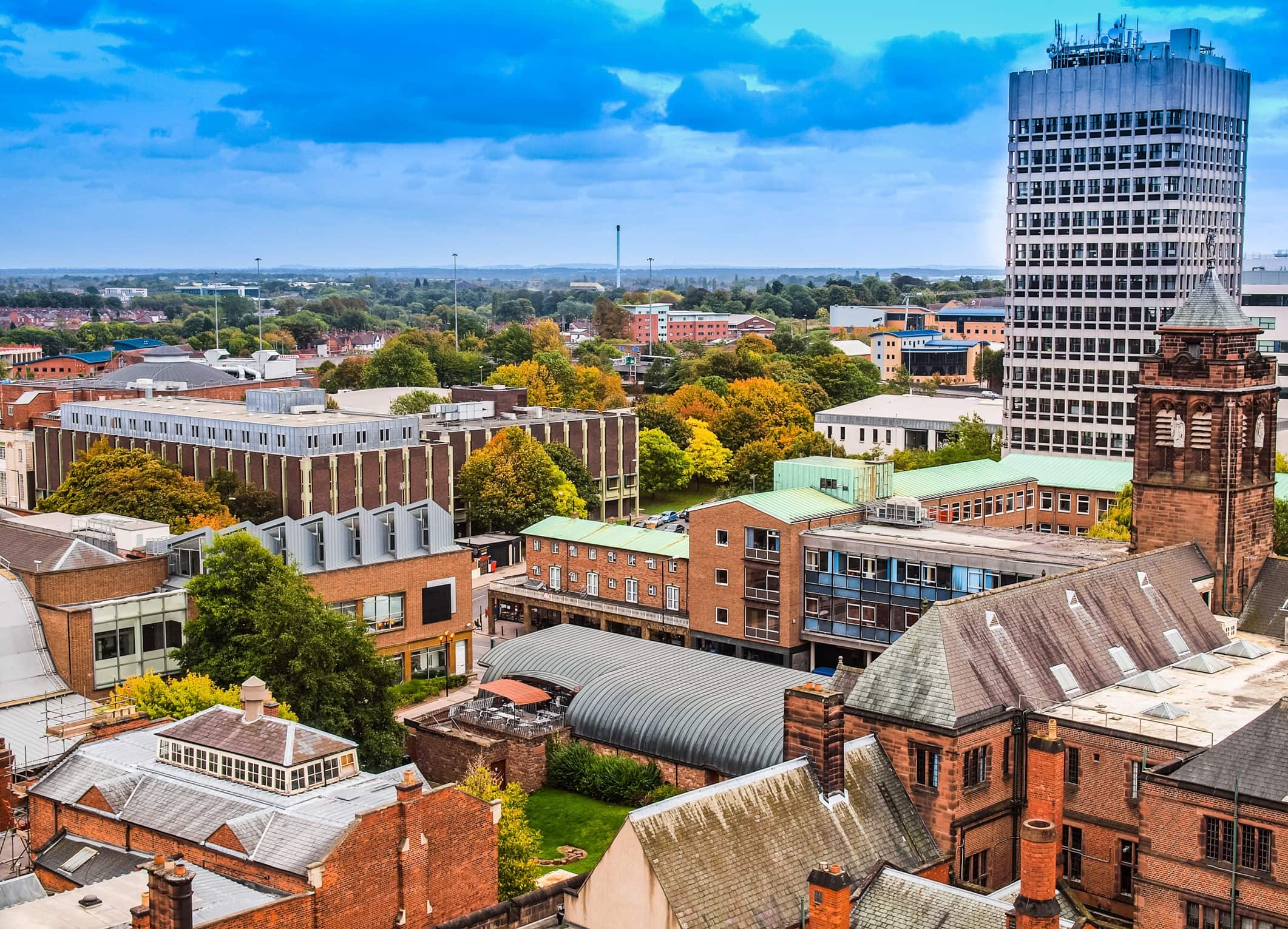 Panoramic view of the city of Coventry, England, UK