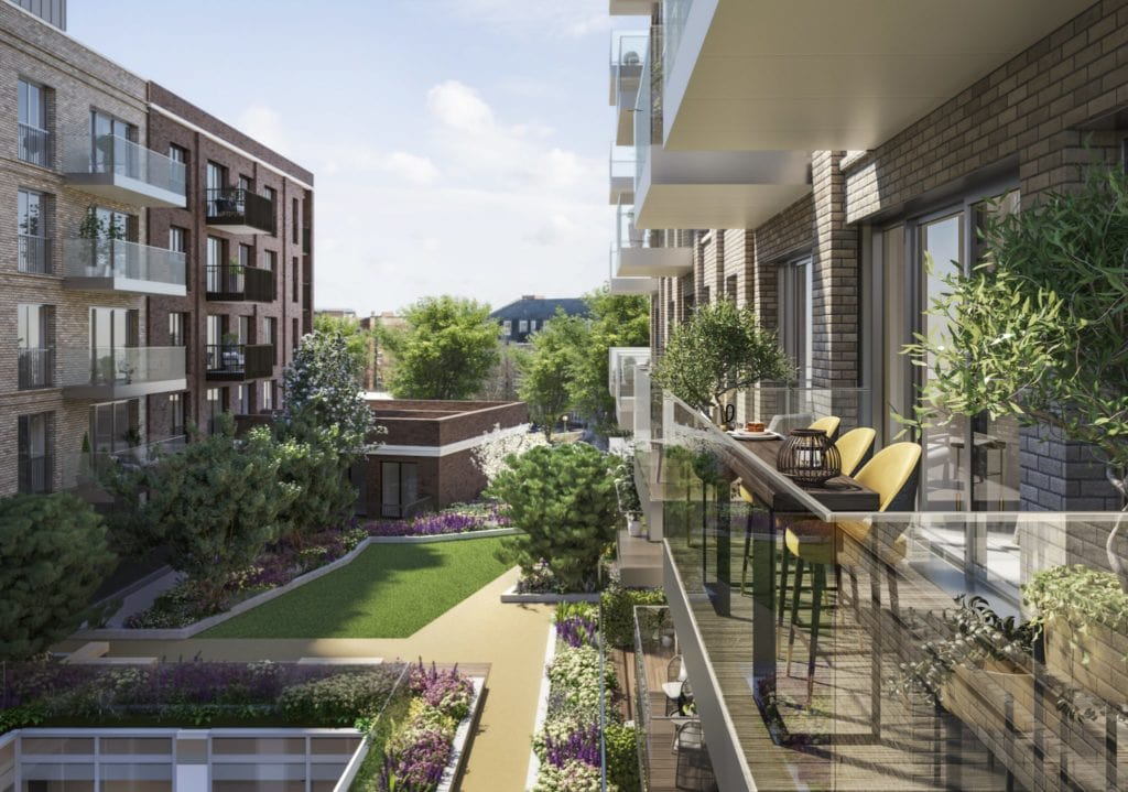 Exterior CGI of L&Q at The Silk District - Shared Ownership homes available through on Share to Buy