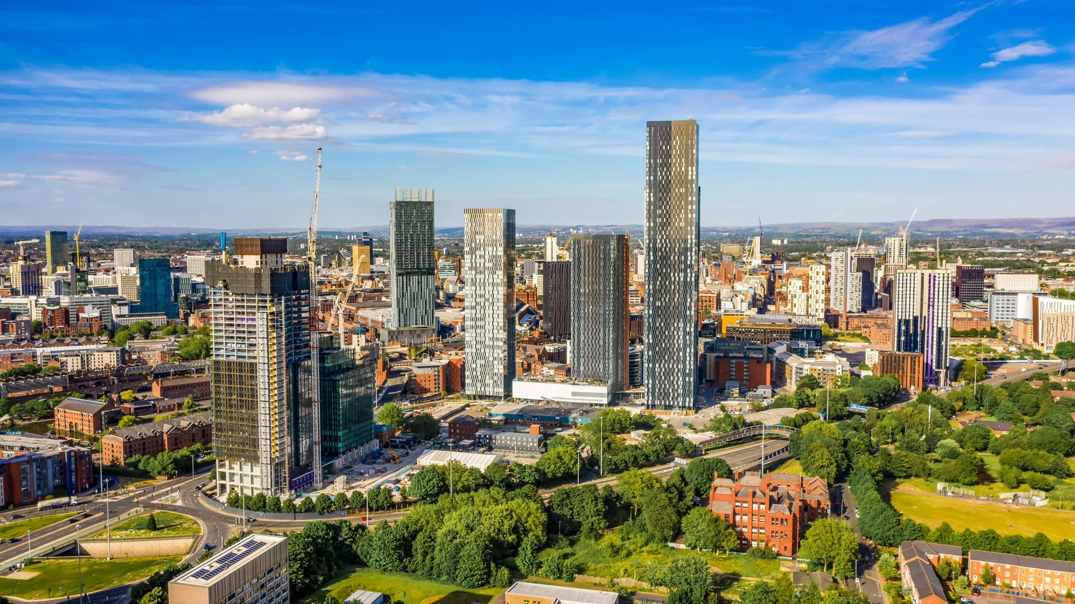 Aerial shot of Manchester UK on a beautiful summer day