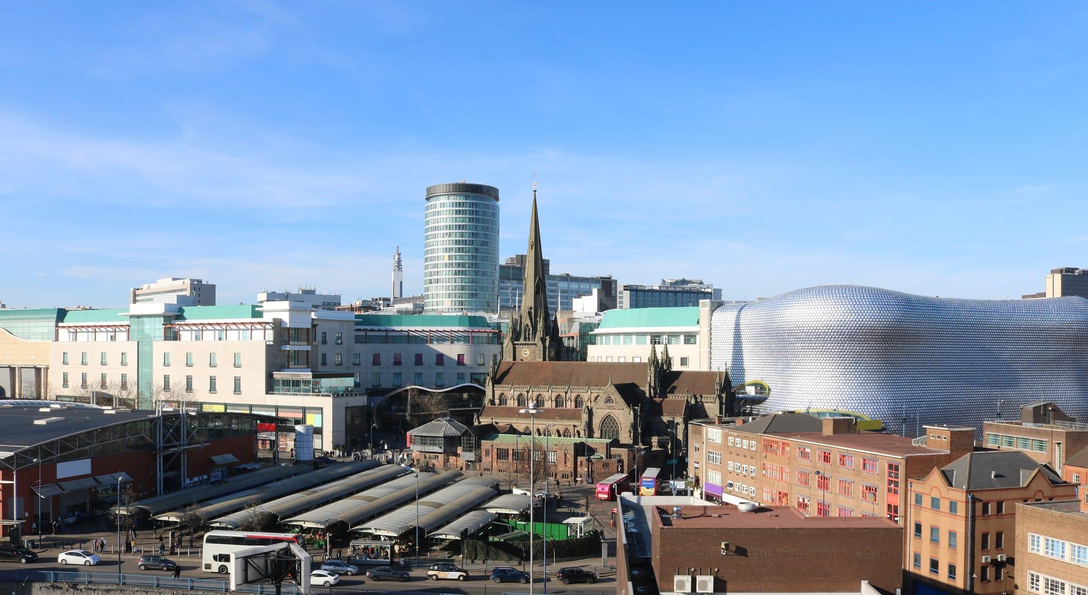 Birmingham UK skyline including Rag Market, St Martins Church, Rotunder and The Bullring