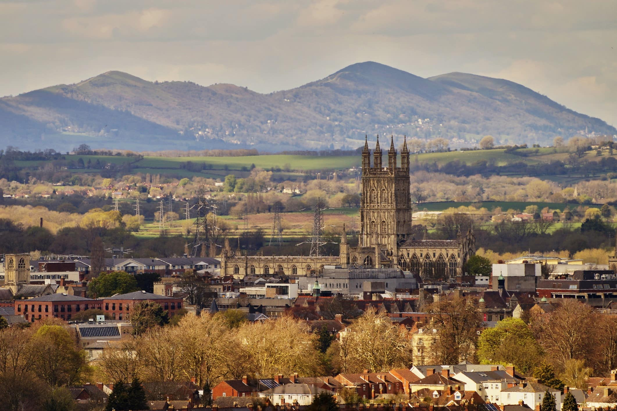 Skyline view of Gloucester, United Kingdom, including the cathedral